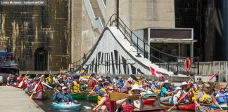 """The goal of this year's Lock & Paddle event is to allow as many paddlers as possible a chance to """"lock-through"""" the Peterborough Lift Lock. The event runs from 10 a.m. to 3 p.m. on Sunday, June 24th, with registration beginning at 10 a.m. and lockage beginning at noon. Local vendors and entertainment will be on site for the duration of the event. (Photo: Linda McIlwain / kawarthaNOW.com)"""