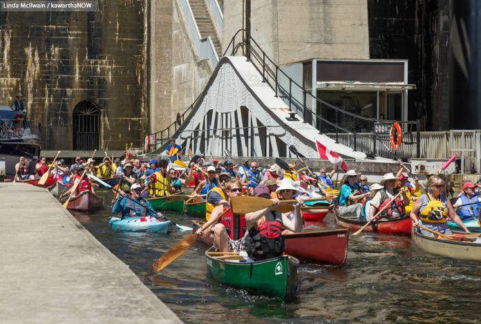 "The goal of this year's Lock & Paddle event is to allow as many paddlers as possible a chance to ""lock-through"" the Peterborough Lift Lock. The event runs from 10 a.m. to 3 p.m. on Sunday, June 24th, with registration beginning at 10 a.m. and lockage beginning at noon. Local vendors and entertainment will be on site for the duration of the event. (Photo: Linda McIlwain / kawarthaNOW.com)"