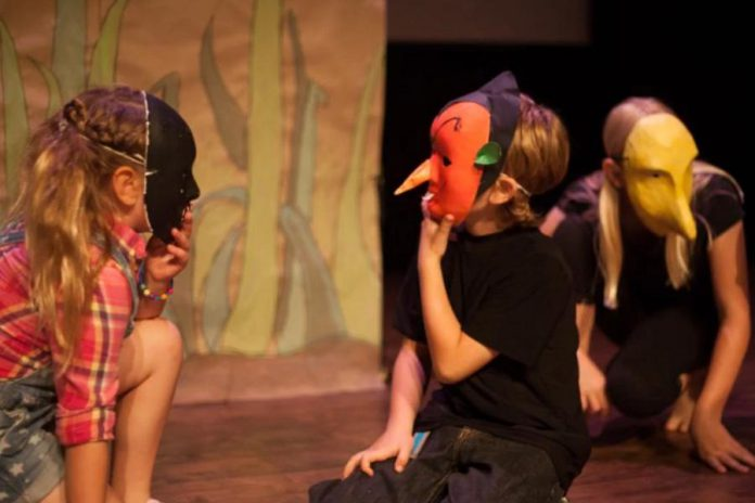 At the Creativity Camps, children and youth get to explore their imagination through theatre games, writing, music, movement, and masks.  (Photo: Bradley Boyle / Market Hall Performing Arts Centre)
