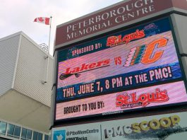 When you're driving on Lansdowne Street East in Peterborough, it's impossible to miss Movingmedia's digital billboard at the Peterborough Memorial Centre. The company, known for its network of high-resolution outdoor video screens at strategic locations in the City of Peterborough (and expanding to other cities in the Kawarthas region), also provides indoor digital displays as well as creative ad design services, marketing consultation, and campaign development. (Photo: Bruce Head / kawarthaNOW.com)