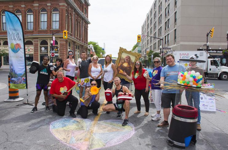 The fourth annual Peterborough Pulse event, where people replace cars on downtown Peterborough streets, returns on Saturday, July 21, 2018. A media launch was held on June 20th beside the Peterborough Downtown Farmers' Market. (Photo courtesy of Peterborough Downtown Business Improvement Area)