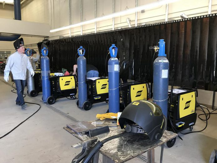The new welding booths include shop electrical upgrades, fume extraction equipment installations, curtained welding booth structures, and booth-by-booth welders and related equipment.  (Photo courtesy of Galen Eagle / PVNC)