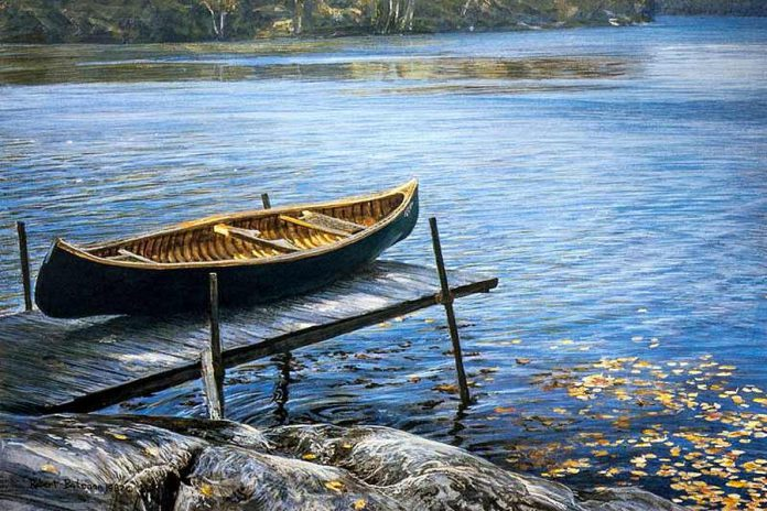 "Built by legendary canoe builder May Minto, Robert Bateman's canoe was featured in his painting ""Rocky Point - October"", a print of which will also be on display at The Canadian Canoe Museum."