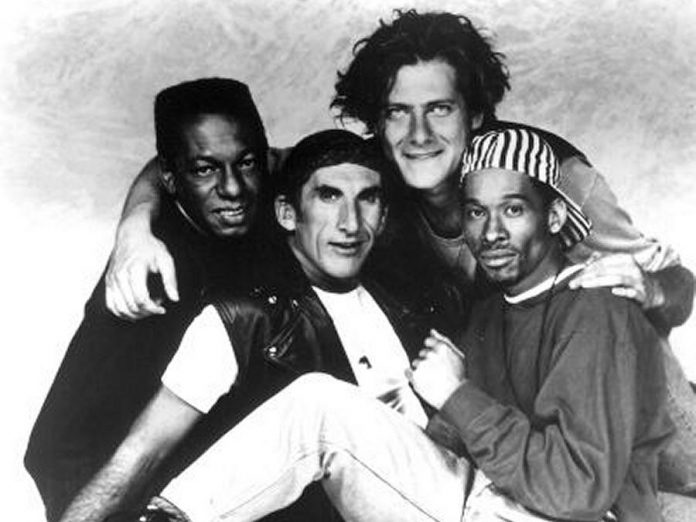 Michah Barnes (second from right) with The Nylons. He performed with the a capella pop group from 1990 to 1994. (Photo courtesy of Micah Barnes)