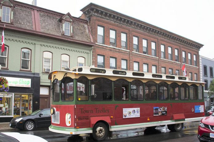 The Town Trolley, owned and operated by Michael Bryant of Dromoland out of Little Britain, will be used to provide free service from downtown Peterborough to Del Crary Park from 6 to 10 p.m. on Wednesdays and Saturdays between June 30 and August 25, 2018. (Photo courtesy of Peterborough DBIA)