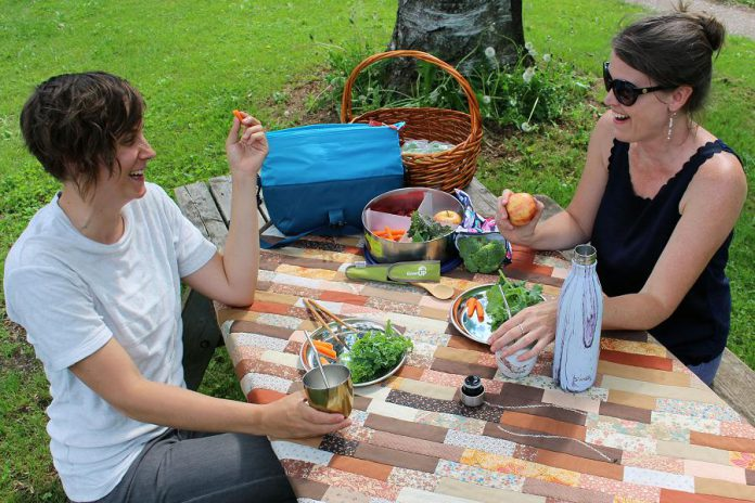 GreenUP staff enjoy a picnic at Ecology Park in Peterborough using waste-free and reusable alternatives to disposable and single-use food packing options. Stainless steel containers, water bottles, reusable drinking boxes, lunch bags, totes, and fabric snack bags -- available at the GreenUP Store -- will help you create a convenient, nutritious, and fun picnic. (Photo: Vern Bastable / GreenUP)