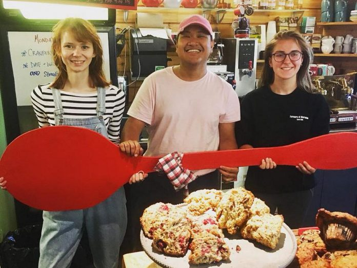 The Silver Bean Cafe in Millennium Park is one of 32 Peterborough restaurants, cafes, and pubs participating in the 2018 Paint The Town Red fundraiser for the United Way on Wednesday, July 18th. This is the sixth year of participation by the Silver Bean, whose co-owner Michael VanDerHerberg founded the event in 2013. (Photo courtesy of United Way of Peterborough and District)