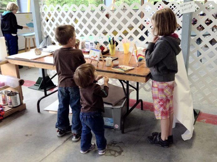 "At the ""ARTivity Zone"", operating all weekend, children can participate, create, and experiment in different art mediums. (Photo courtesy of Buckhorn Fine Art Festival)"