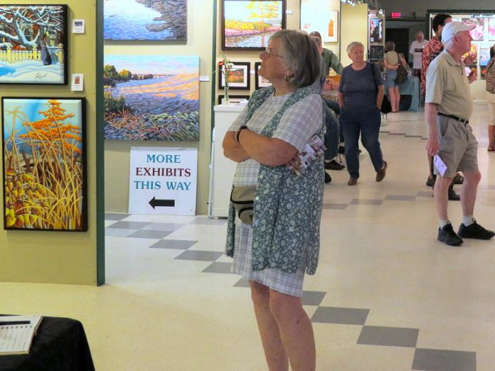 An attendee browses an exhibit at the Buckhorn Fine Art Festival. (Photo courtesy of Buckhorn Fine Art Festival)