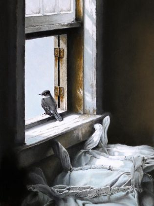 "A detail from ""Looking Out"", an original graphite study by Michael Dumas and the featured painting at ""The Lives of Birds"", this year's special exhibit at the Buckhorn Fine Art Festival. A draw for the painting will be held on opening night on Friday, August 17th. (Photo courtesy of Buckhorn Fine Art Festival)"