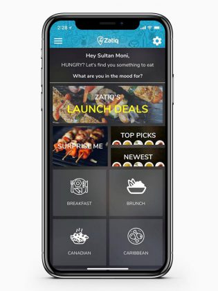 The Zatiq app, available for both Android and iOS devices, matches consumer food cravings with local meal locations. (Photo courtesy of the Innovation Cluster)