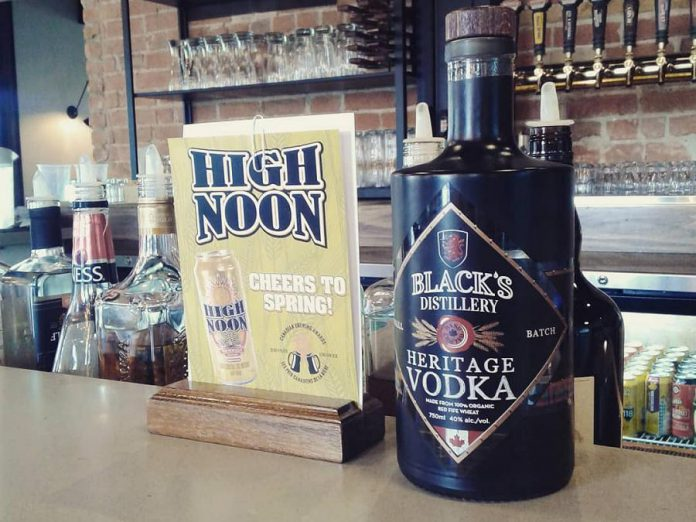 Black's Distillery Heritage Vodka, shown here at Publican House Brewery, will soon be available at 25 LCBO locations as well as online. (Photo: Black's Distillery / Facebook)