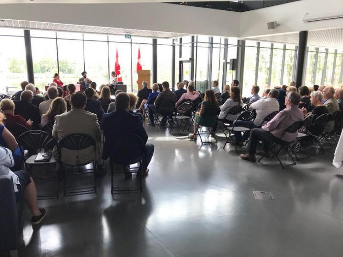 Navdeep Bains, the federal Minister of Innovation, Science, and Economic Development, speaks at the Student Centre of Trent University on July 25, 2018. (Photo: Maryam Monsef / Facebook)