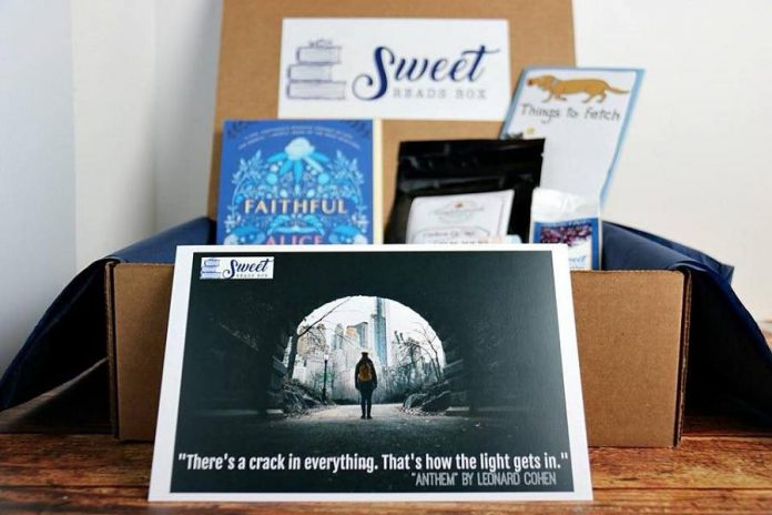 "The October 2017 Sweet Reads Box featured the novel ""Faithful"" by Alice Hoffman, cashew toffee from Templeman Toffee in Port Perry, coffee from Kyoto Coffee from Lakefield, Hatley's Little Blue House Socks, and Magnetic Note Pad and Fred's Mark My Words Bookmarks. (Photo: Sweet Reads Box)"