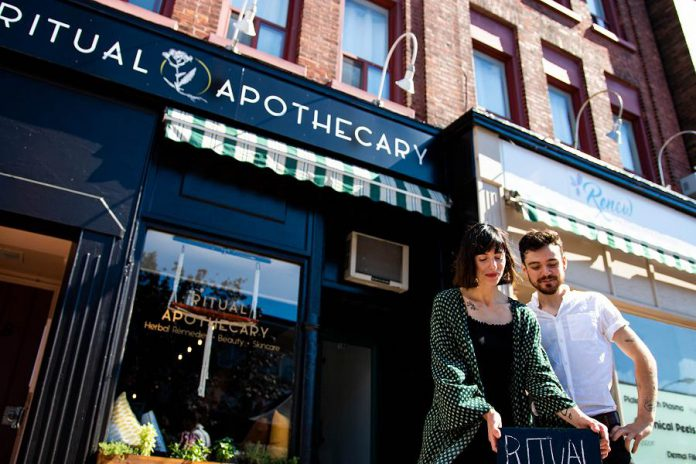 Nadine McCallen, winner of second annual Win This Space entrepreneurial competition, opened her new store Ritual Apothecary  at 196 Charlotte Street in downtown Peterborough in July 2018. (Photo courtesy of Peterborough DBIA)