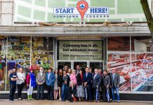 "The June launch of the Downtown Cobourg ""Start Here"" business attraction marketing campaign was attended by Cobourg Mayor Gil Brocanier and Northumberland-Peterborough South MPP David Piccini. (Photo courtesy of the Town of Cobourg)"