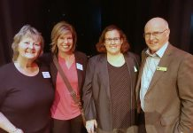 Showplace Performance Centre general manager Emily Martin (second from right) is putting her stamp on the downtown performing arts venue, buoyed by her already extensive experience in the performing arts milieu. Here she is pictured with Showplace board members Brenda Booth and Julie Howe and Nexicom past president Paul Downs in November 2017, when the main performance space was named The Erica Cherney Theatre as a tribute to the late businesswoman and fervent arts supporter. (Photo: Jeannine Taylor / kawarthaNOW.com)