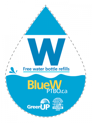 Participating businesses with the BlueW Ptbo decal will allow you to fill up your water bottle with municipal tap water at no cost and with no obligation to buy anything. (Graphic: BlueW Ptbo)