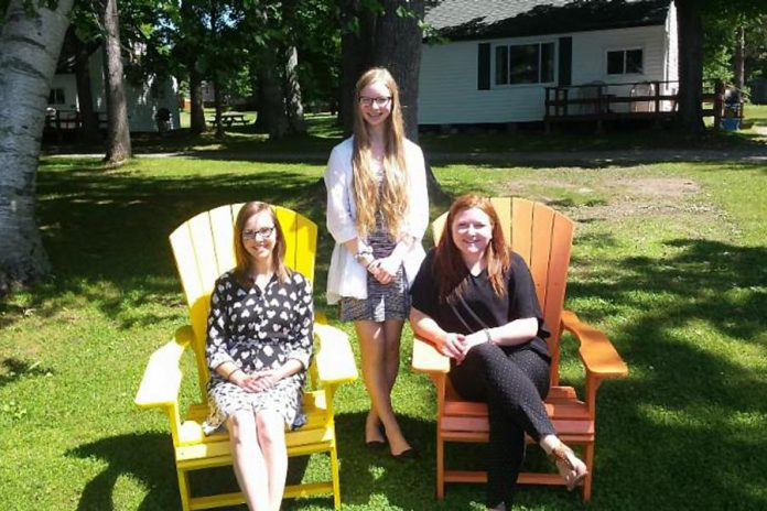 Ginny Sadlier, Tess Wilson, and Rachel Rutherford are three summer students working for the  Kawartha Chamber of Commerce & Tourism and Buckhorn & District Tourist Association.