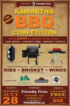 Watch for the Kawartha BBQ Competition on July 28th at Friendly Fires. (Poster: Friendly Fires)