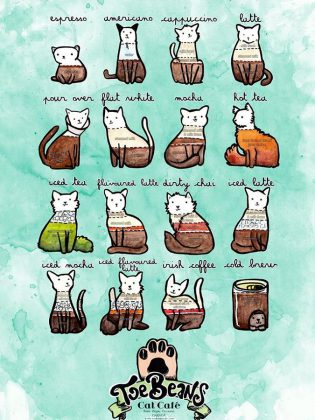Alise illustrated the coffee menu at Toe Beans Cat Cafe. (Graphic: Alise Glover)