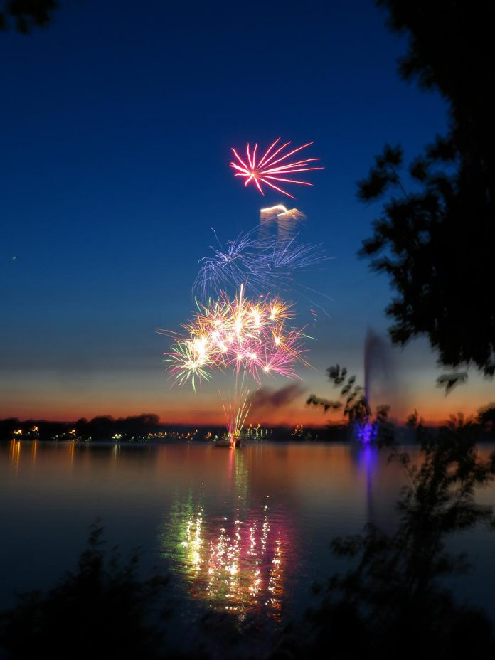 The fireworks began at dusk, launched from a platform in Little Lake. (Photo: Kirk Doughty)