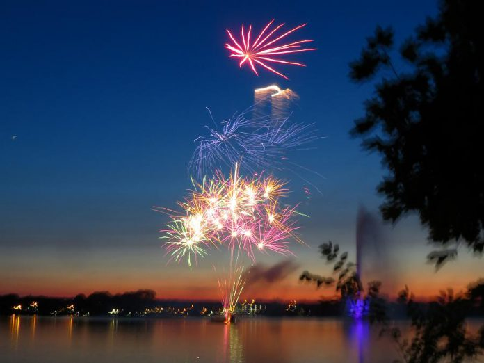 Local photographer Kirk Doughty captured this shot of the Canada Day fireworks over Little Lake in Peterborough. (Photo: Kirk Doughty)