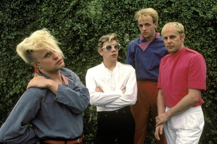The original members of A Flock of Seagulls in 1982 (Mike Score on keyboards and vocals, Paul Reynolds on guitar, Frank Maudsley on bass, and Ali Score on drums). A touring version of the band featuring founding member Mike Score will perform a free concert at Peterborough Musicfest in Del Crary Park on Wednesday, July 11, 2018. (Publicity photo)
