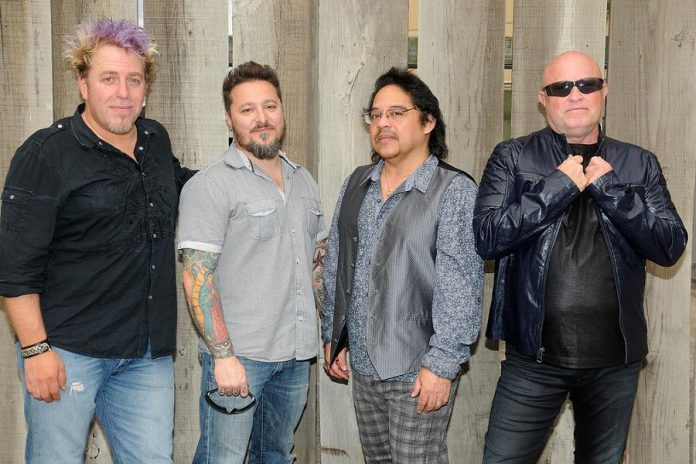 The touring line-up of A Flock of Seagulls in February 2017, with Kevin Rankin, Lucio Rubino, Joe Rodriguez, and original member Mike Score. (Publicity photo)