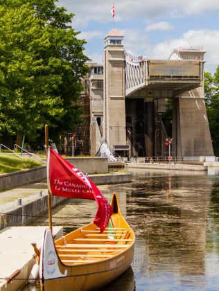You can climb on board The Canadian Canoe Museum's Montreal canoe and paddle it through the Peterborough Lift Lock.