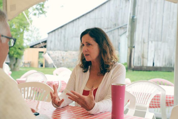 "Playwright Judith Thompson discusses her play ""Who Killed Snow White?"" with kawarthaNOW.com writer Paul Rellinger. (Photo: Heather Doughty / kawarthaNOW.com)"