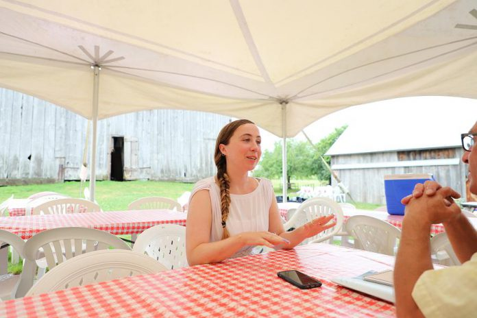 Actor Grace Thompson, who is playwright Judith Thompson's daughter, speaks with kawarthaNOW.com writer Paul Relllnger about her character Serena. (Photo: Heather Doughty / kawarthaNOW.com)
