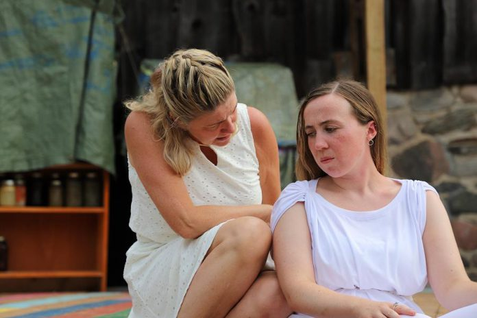 Cynthia Ashperger as Ramona and Grace Thompson as Serena perform a scene from the play.  (Photo: Heather Doughty / kawarthaNOW.com)