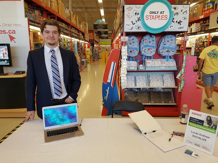 Lucas Graham's smartphone app, Socialize, helps people connect and network in real life. (Photo: Amy Bowen / kawarthaNOW.com)