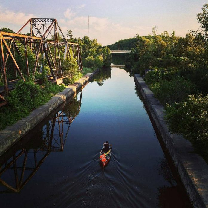 Expedia.ca used this photo of canoeists on the Trent Canal near Trent University, taken by a local photographer and shared on kawarthaNOW's Instagram, to illustrate Peterborough as one of the 21 most active cities in Canada. (Photo: @jefflionelfitz / Instagram)