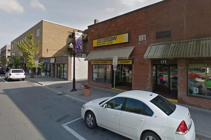 The new location of The Theatre on King will be at 171 King Street in downtown Peterborough, in the former location of Custom Copy. Artistic director Ryan Kerr hopes to open the theatre at its new location in the coming weeks. (Photo: Google Maps