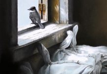 """A detail from """"Looking Out"""", an original graphite study by artist Michael Dumas and the featured painting in """"The Lives of Birds"""", the special exhibit at this year's Buckhorn Fine Art Festival from August 17 to 19, 2018. Ticket holders at opening night on Friday, August 17 will automatically be entered into a draw for this painting, valued at $1,000. (Photo courtesy of Buckhorn Fine Art Festival)"""