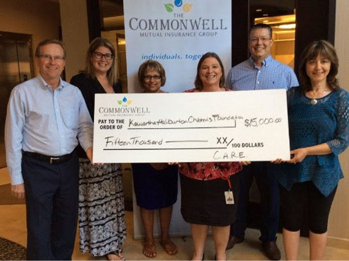 The Commonwell Mutual Insurance Group has donated $15,000 to support the Kawartha-Haliburton Children's Foundation. Left to right: David Blodgett Chief Strategy Officer, Jennifer Hope, Latchmin Bharat, Deb Aben (Kawartha-Haliburton Children's Foundation), Michael Leach, and Koren Harris. (Photo courtesy of The Commonwell)