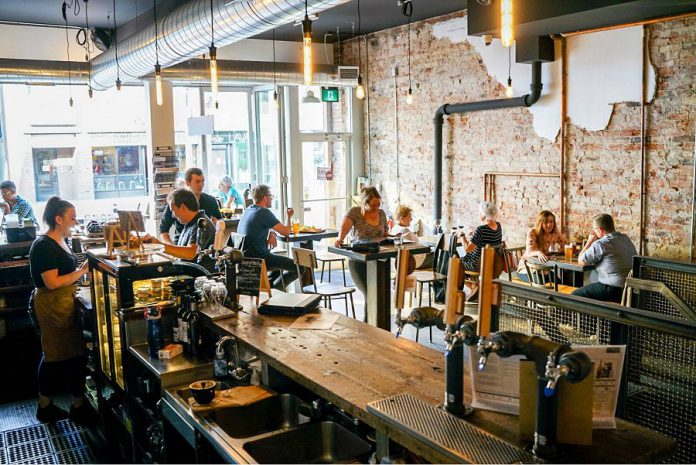 The new Cork & Bean in downtown Peterborough will mimic the look of its Oshawa namesake, pictured here, where you can get coffee, wine, and craft beer all at one location. (Photo: Cork & Bean Oshawa)