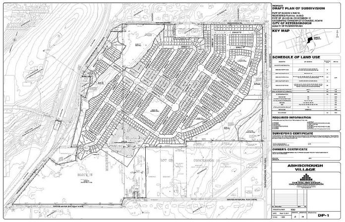 The draft plan for the proposed 700-unit Ashborough Village development east of Ashburnham Drive in Peterborough's East City. (Graphic: City of Peterborough)