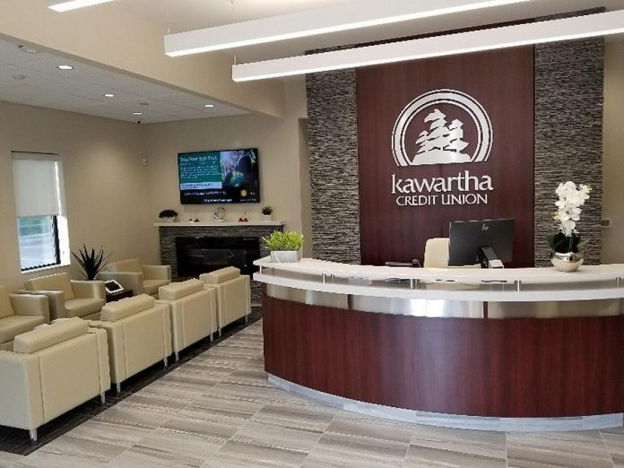 The reception area of the renovated Kawartha Credit Union branch at  1091 Chemong Road in Peterborough. (Photo courtesy of  Kawartha Credit Union)