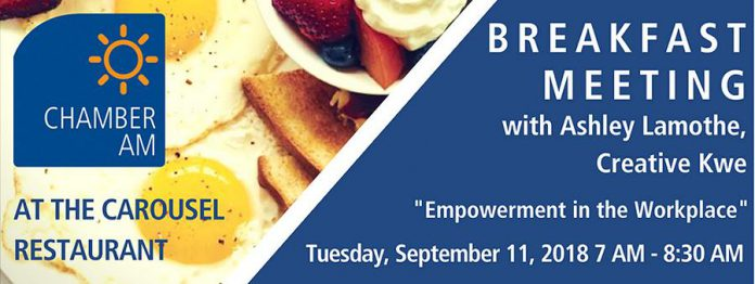 Peterborough Chamber hosts breakfast meeting with Ashley Lamothe on September 11
