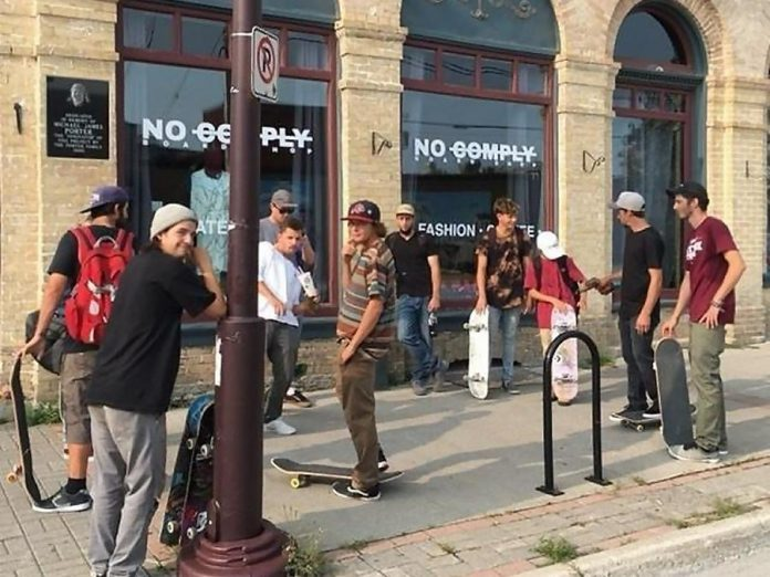 Skateboarders hang out at the No Comply Boardshop in downtown Peterborough, which sells skateboards, longboards, snowboards, streetwear, shoes, and more. (Photo: No Comply Boardshop)