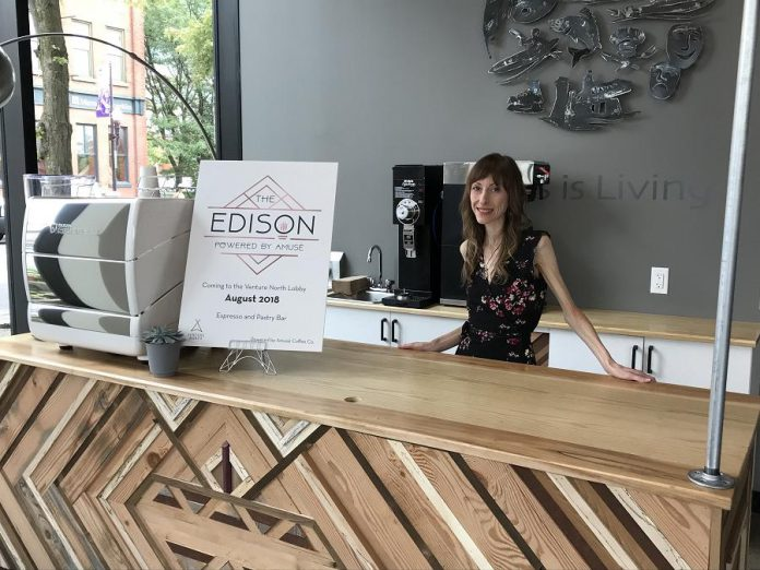 Lindsay Brock, owner of Amusé Coffee Co., at The Edison, her second permanent location in the lobby of the VentureNorth building in downtown Peterborough.  (Photo courtesy of the Innovation Cluster)