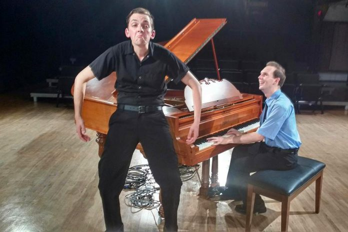 Victor Pokinko performs as Barb with Matt Pilipiak at the piano as Officer Marcus. (Photo: Sam Tweedle / kawarthaNOW.com)