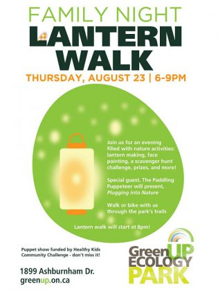 The annual GreenUP Ecology Park Family Night & Lantern Walk is a free event taking place from 6 to 9 p.m. on Thursday, August 23, 2018.