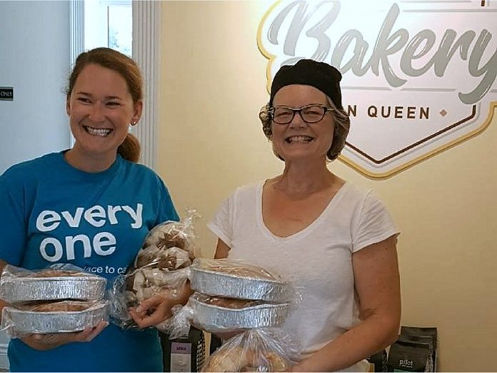 Theresa Kimmerer of Lakefield Bakery on Queen donates some of her baked goods to the Curve Lake Habitat for Humanity build. (Photo: Lakefield Bakery on Queen)