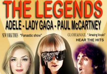 Angela Seeger sings as Adele, Kara Chandler sings as Lady Gaga, and Jeremy Wright sings as Paul McCartney in The Legends, a free concert at Peterborough Musicfest on August 18, 2018 at Del Crary Park in Peterborough. (Supplied graphic)