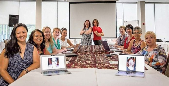 The 2018-19 board of directors of the Women's Business Network of Peterborough, from left to right: (on laptop) Program Director Danielle McIver, Secretary Grace Reynolds, External Communications Director Rencee Noonan, Treasurer Christine Teixeira, Member Communications Director Diane Wolf, Director at Large Josee Kiss, President Tracey Ormond, Past President Lorie Gill, Technical Director Karen Copson, Program Director Lori McKee, Membership Director Arlene Blunck, Social Director Gail Moorhouse, and (on laptop) Strategic Planning Director Colleen Carruthers. (Photo: Heather Doughty)