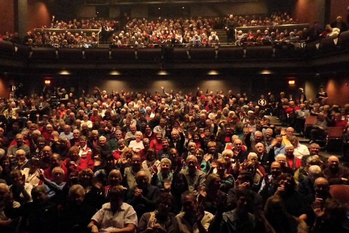 As the Erica Cherney Theatre at Showplace Performance Centre can seat 647 people, a sell-out is great news for both performers and the not-for-profit venue. Pictured is one of the full houses at Showplace for three sold-out performances by fiddlers Natalie MacMaster and Donnell Leahy. (Photo: Emily Martin)